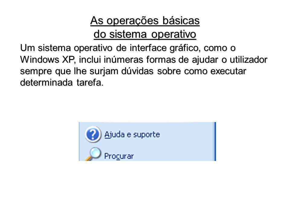 As operações básicas do sistema operativo
