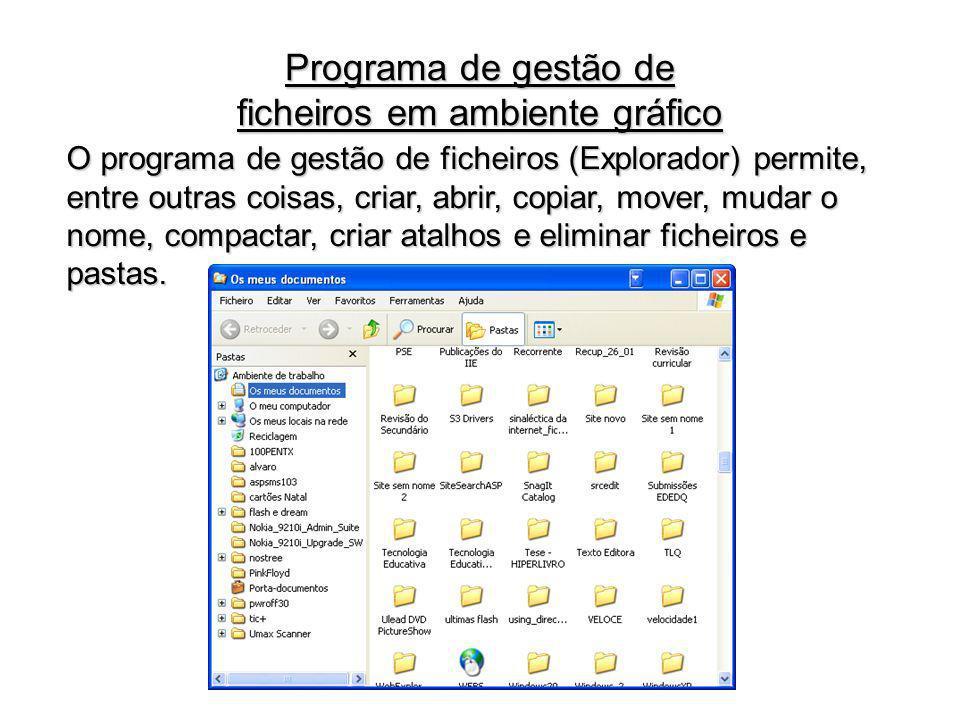 Programa de gestão de ficheiros em ambiente gráfico