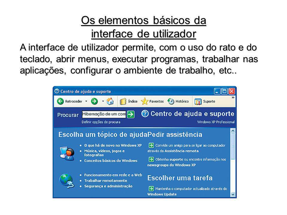 Os elementos básicos da interface de utilizador
