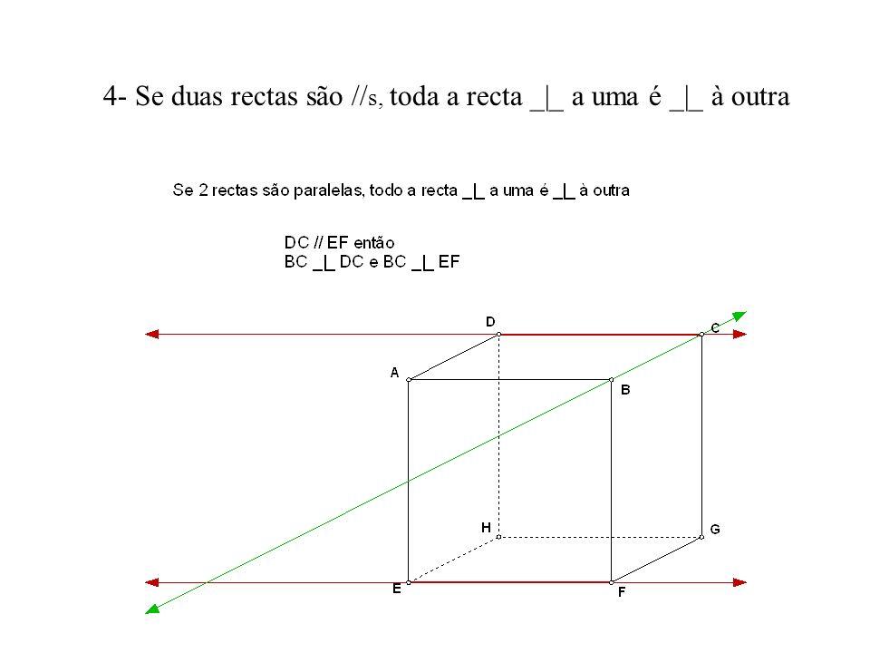 4- Se duas rectas são //s, toda a recta _|_ a uma é _|_ à outra