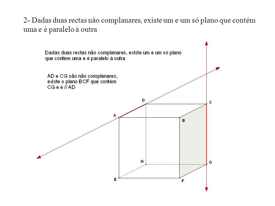 2- Dadas duas rectas não complanares, existe um e um só plano que contém uma e é paralelo à outra