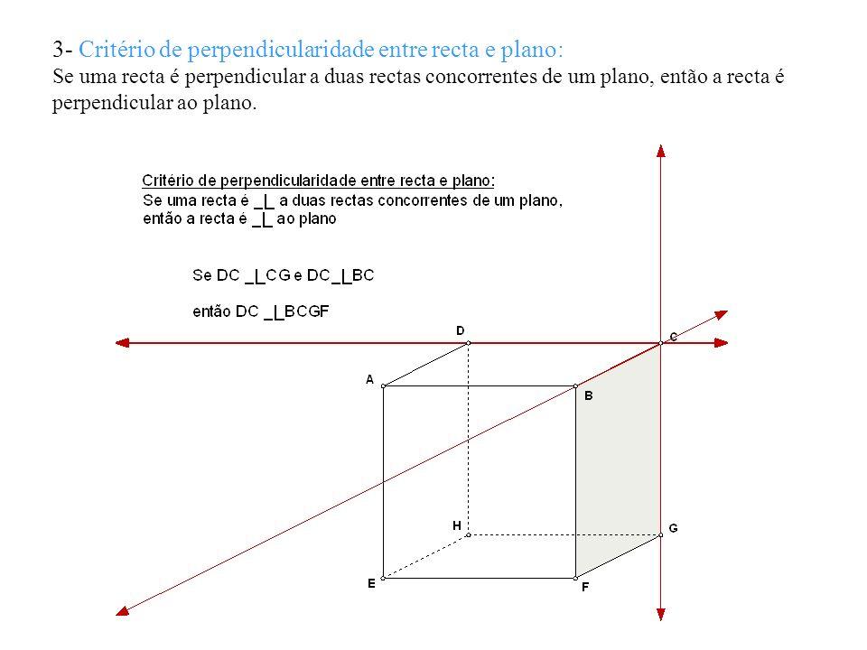 3- Critério de perpendicularidade entre recta e plano: