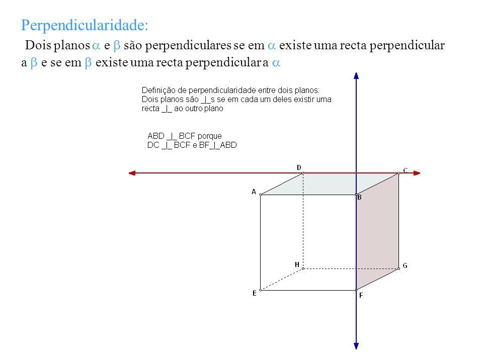Perpendicularidade: Dois planos a e b são perpendiculares se em a existe uma recta perpendicular a b e se em b existe uma recta perpendicular a a.