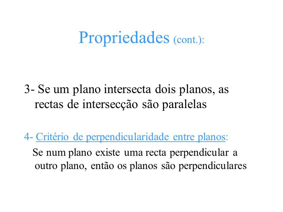 Propriedades (cont.): 3- Se um plano intersecta dois planos, as rectas de intersecção são paralelas.