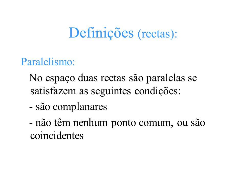 Definições (rectas): Paralelismo: