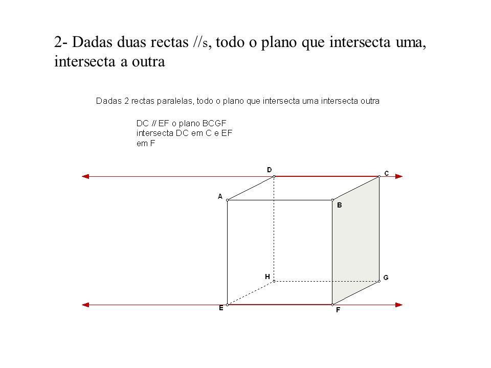 2- Dadas duas rectas //s, todo o plano que intersecta uma, intersecta a outra