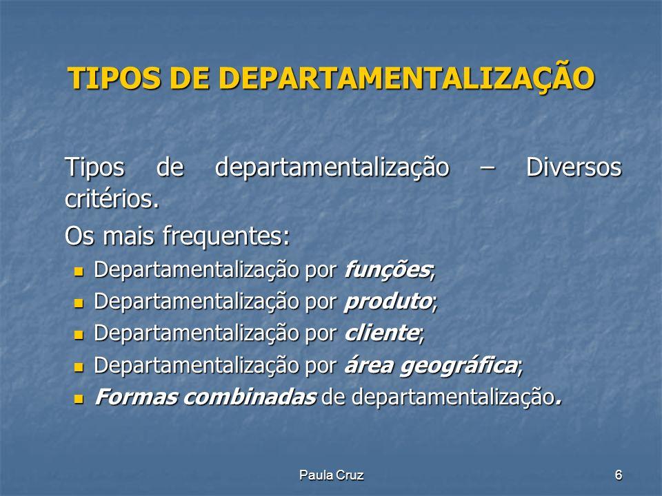 TIPOS DE DEPARTAMENTALIZAÇÃO