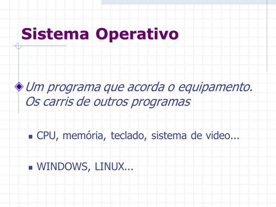 Sistema OperativoUm programa que acorda o equipamento. Os carris de outros programas. CPU, memória, teclado, sistema de video...