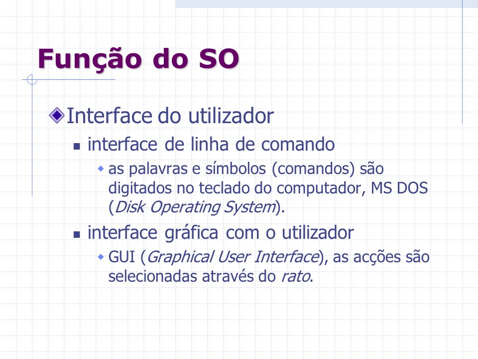 Função do SO Interface do utilizador interface de linha de comando
