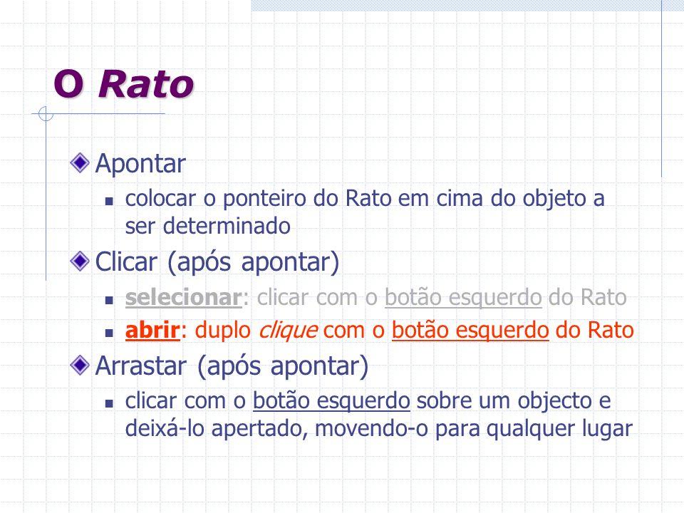 O Rato Apontar Clicar (após apontar) Arrastar (após apontar)