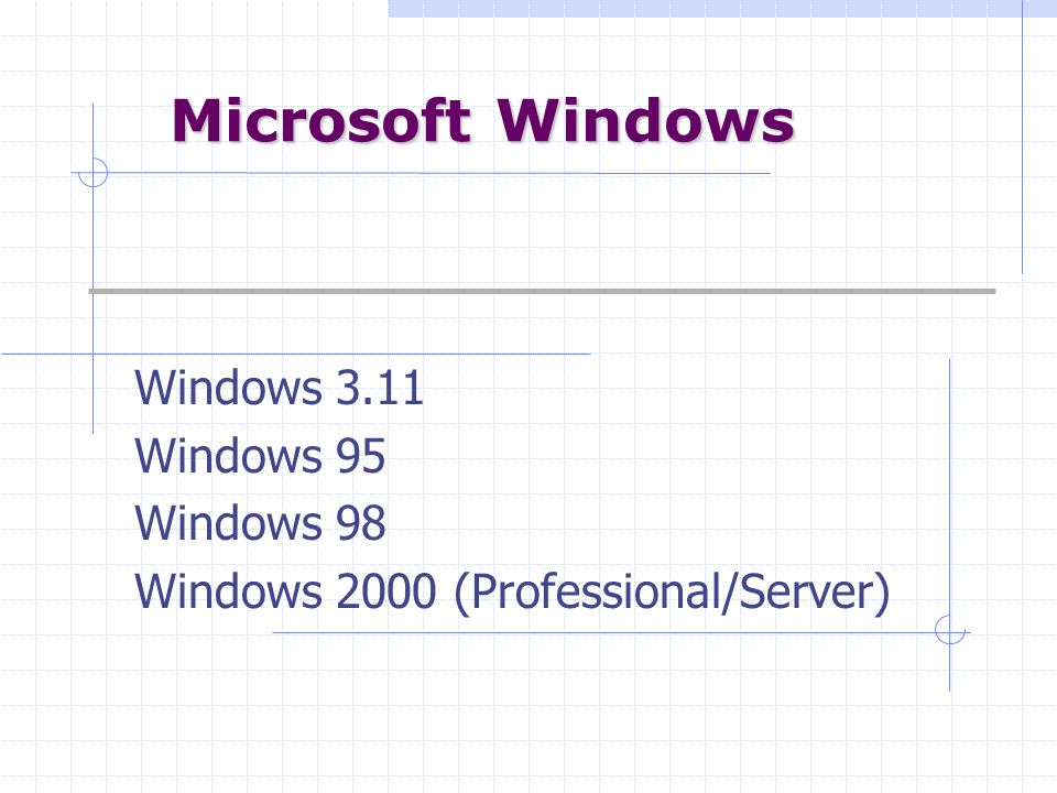 Windows 3.11 Windows 95 Windows 98 Windows 2000 (Professional/Server)