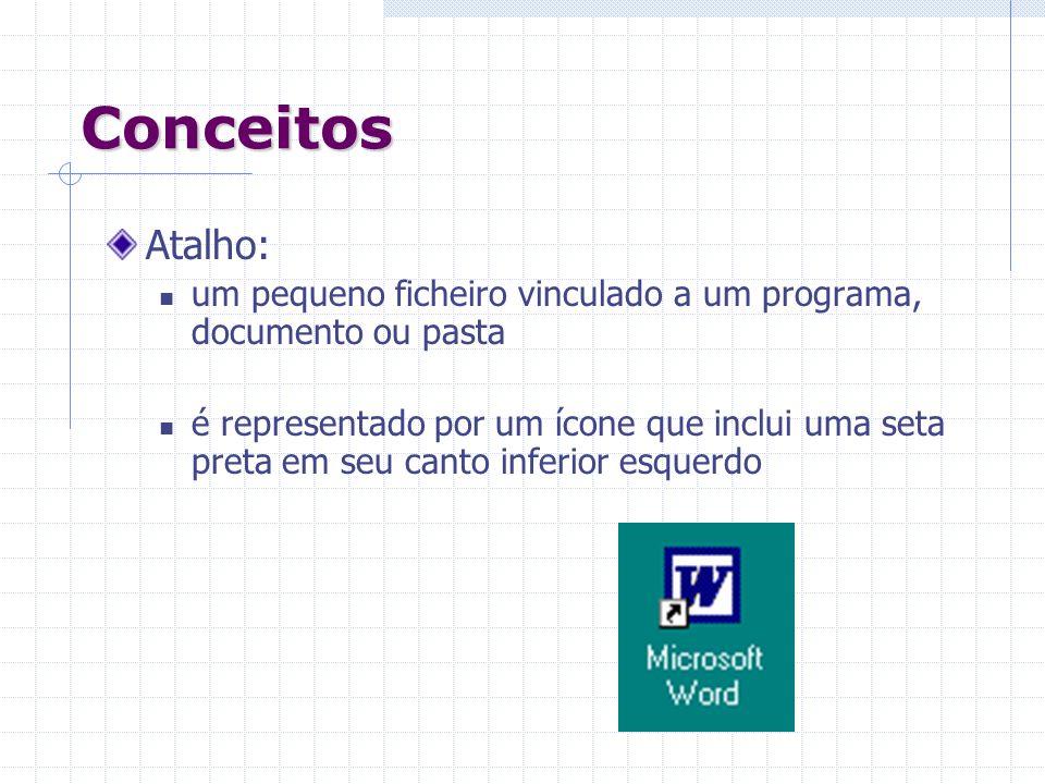 Conceitos Atalho: um pequeno ficheiro vinculado a um programa, documento ou pasta.