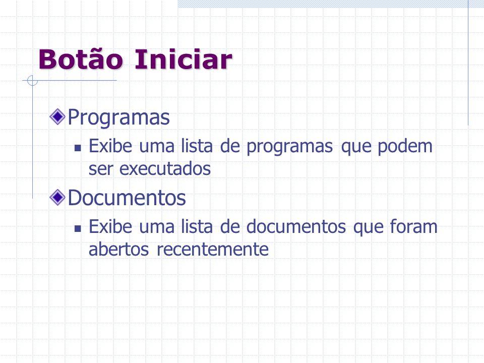 Botão Iniciar Programas Documentos