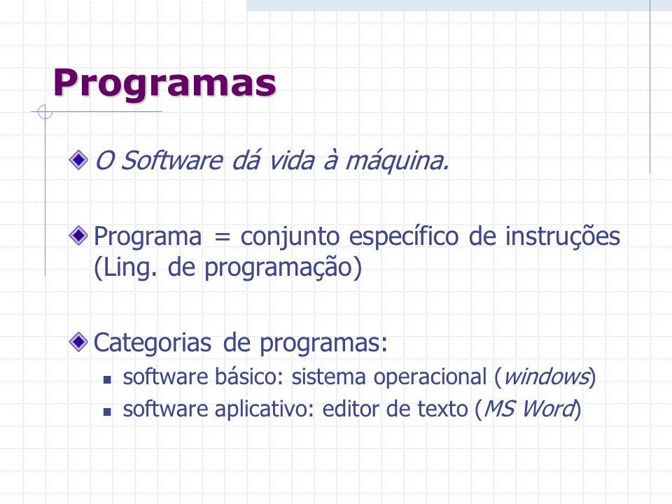 Programas O Software dá vida à máquina.