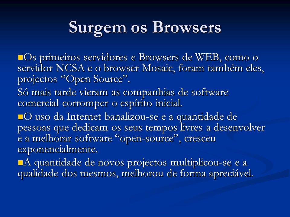 Surgem os Browsers Os primeiros servidores e Browsers de WEB, como o servidor NCSA e o browser Mosaic, foram também eles, projectos Open Source .