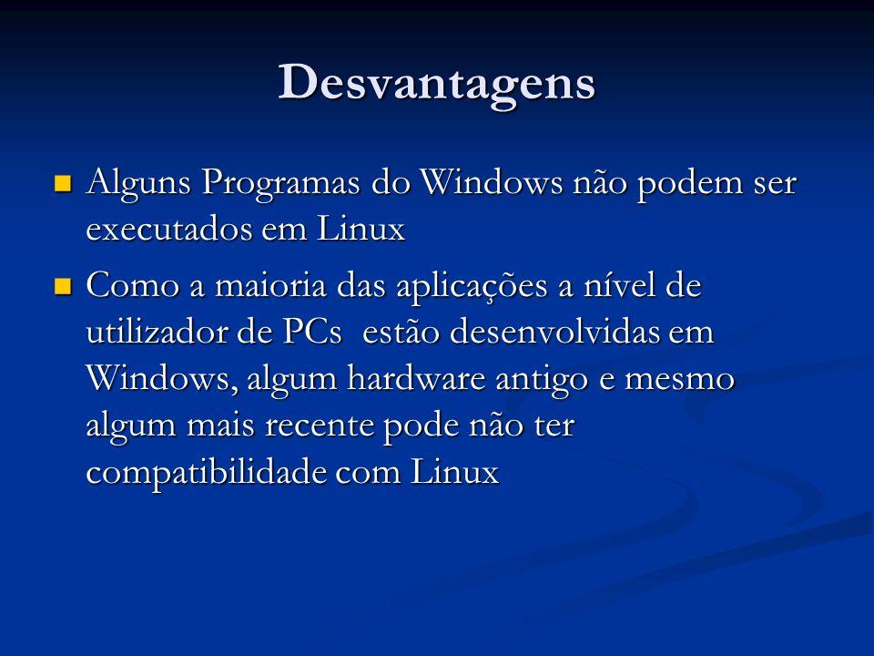 DesvantagensAlguns Programas do Windows não podem ser executados em Linux.