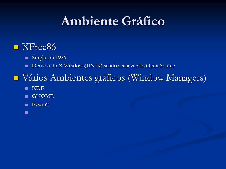 Ambiente Gráfico XFree86 Vários Ambientes gráficos (Window Managers)