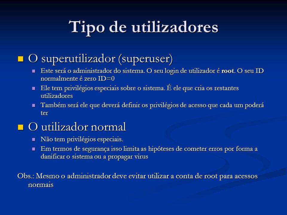 Tipo de utilizadores O superutilizador (superuser) O utilizador normal
