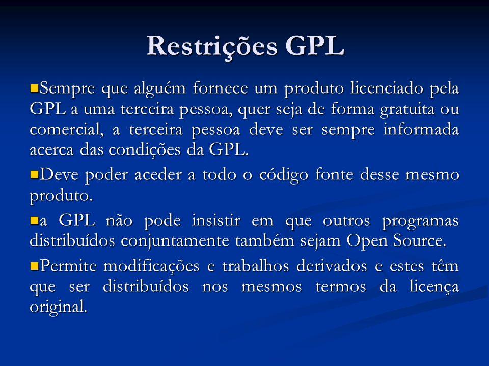 Restrições GPL