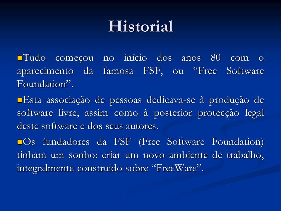 Historial Tudo começou no início dos anos 80 com o aparecimento da famosa FSF, ou Free Software Foundation .