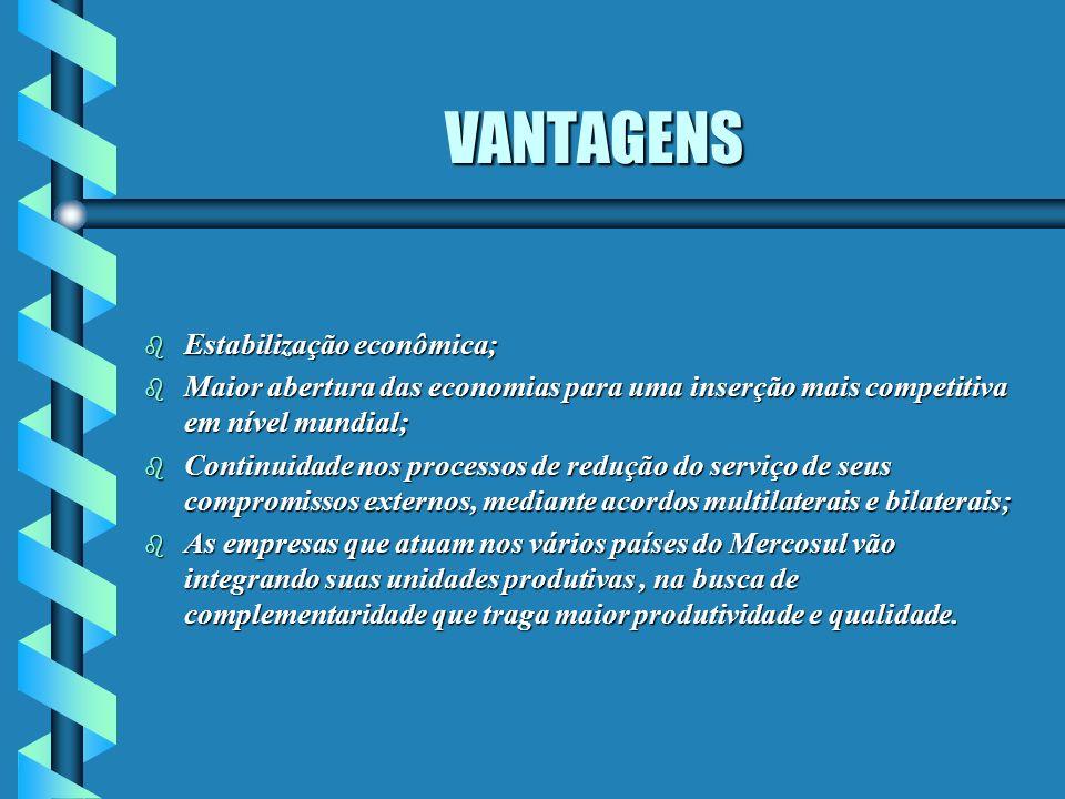 VANTAGENS Estabilização econômica;
