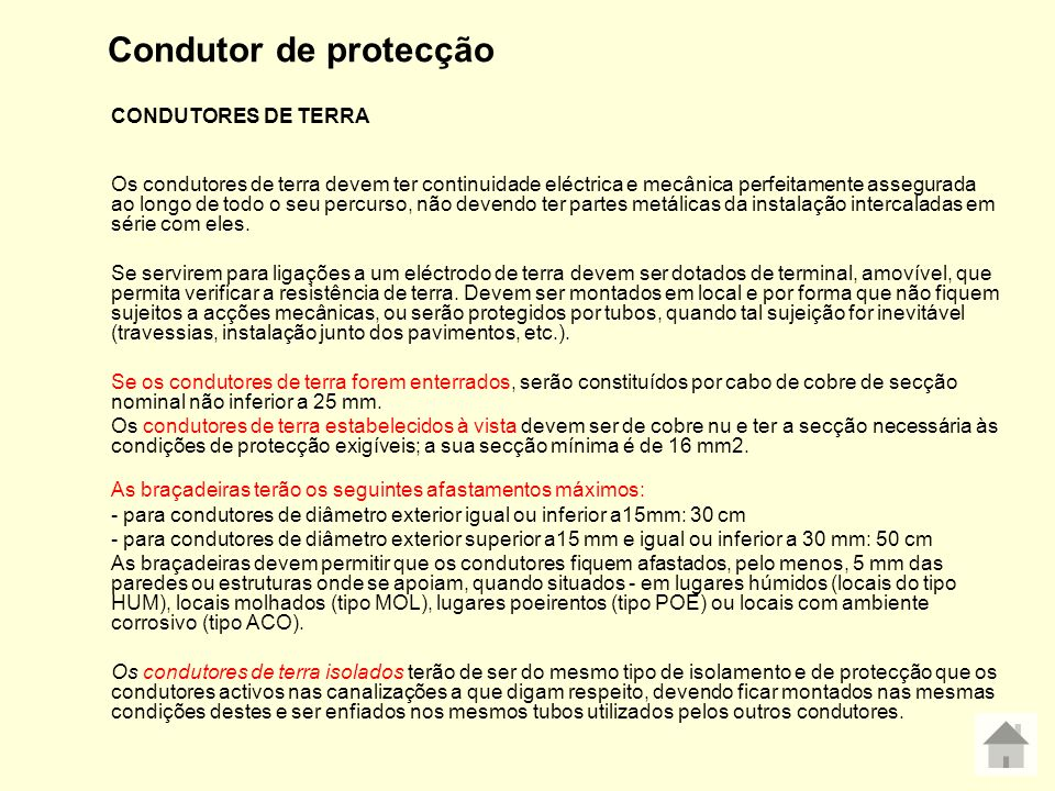 Condutor de protecção CONDUTORES DE TERRA