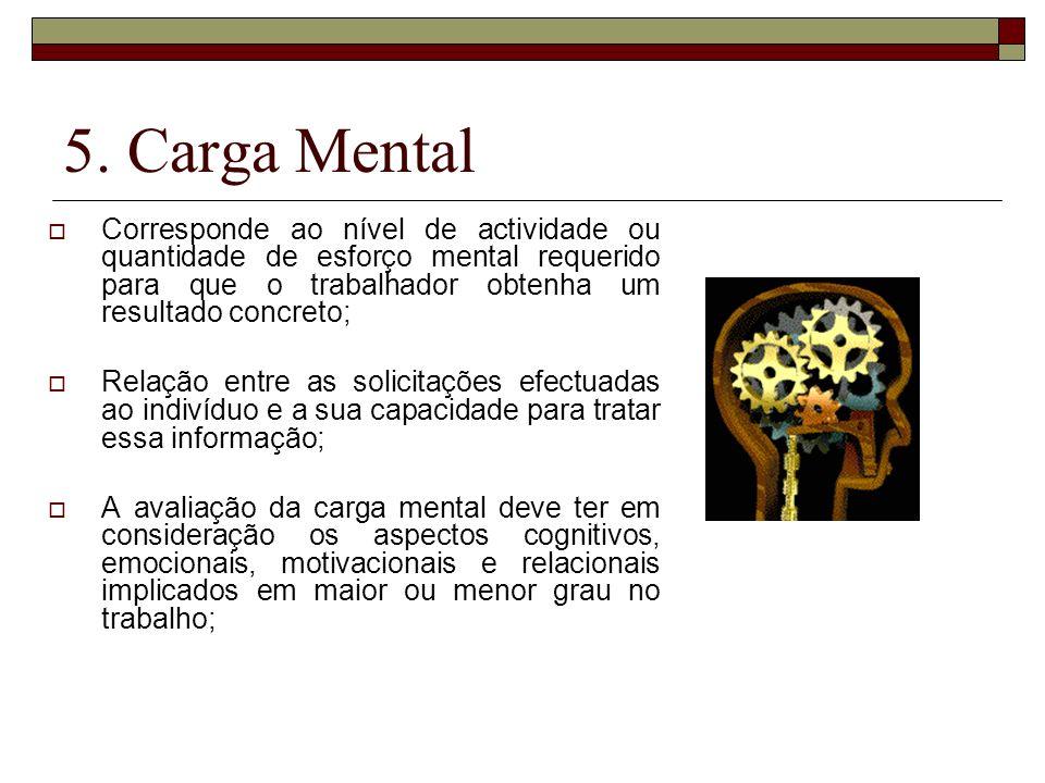 5. Carga Mental Corresponde ao nível de actividade ou quantidade de esforço mental requerido para que o trabalhador obtenha um resultado concreto;