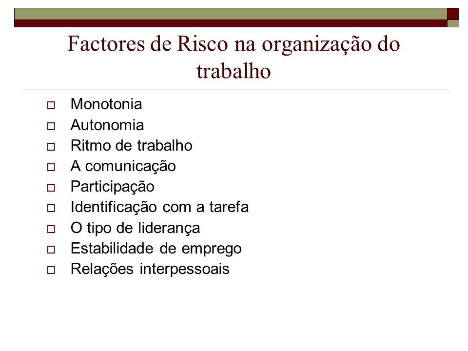 Factores de Risco na organização do trabalho