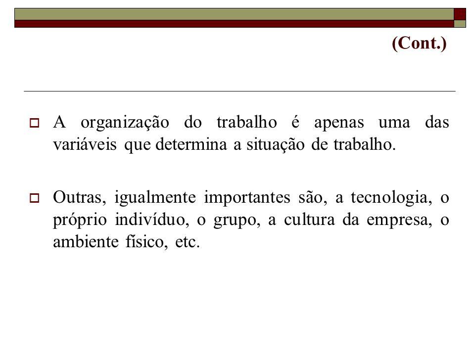 (Cont.)A organização do trabalho é apenas uma das variáveis que determina a situação de trabalho.