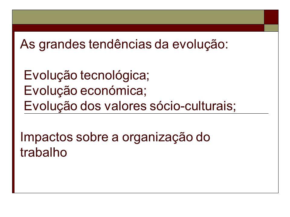 As grandes tendências da evolução: Evolução tecnológica; Evolução económica; Evolução dos valores sócio-culturais; Impactos sobre a organização do trabalho