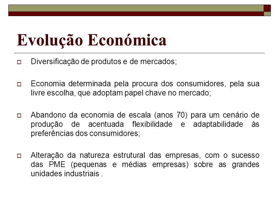 Evolução Económica Diversificação de produtos e de mercados;