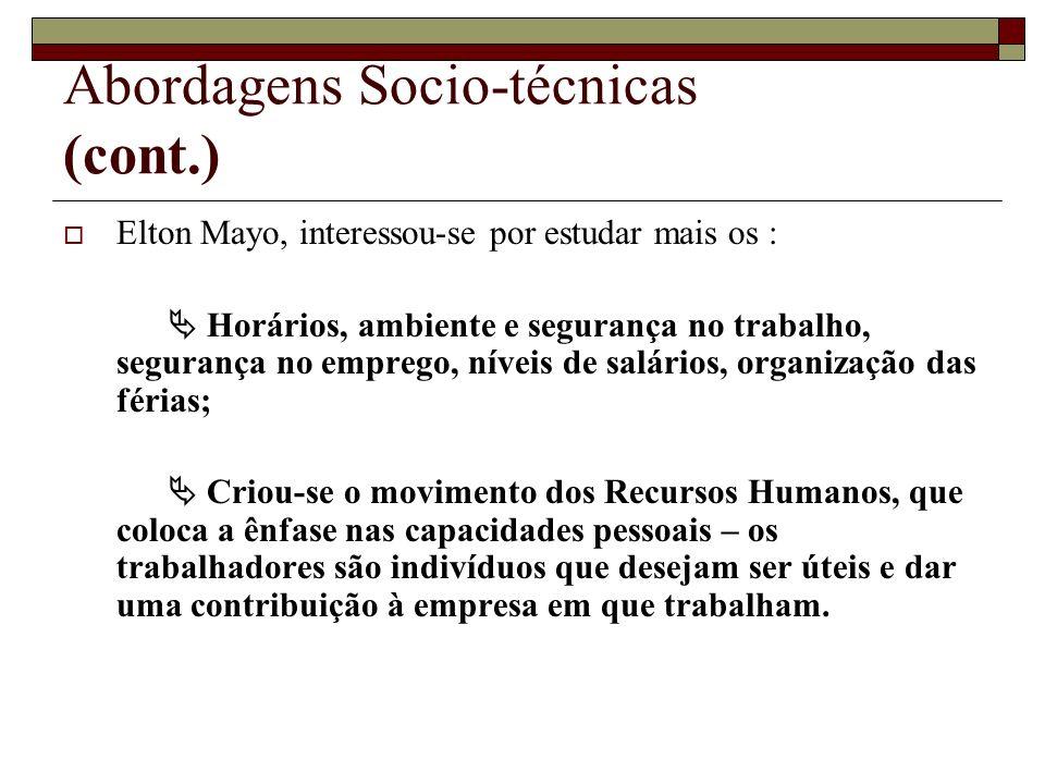 Abordagens Socio-técnicas (cont.)