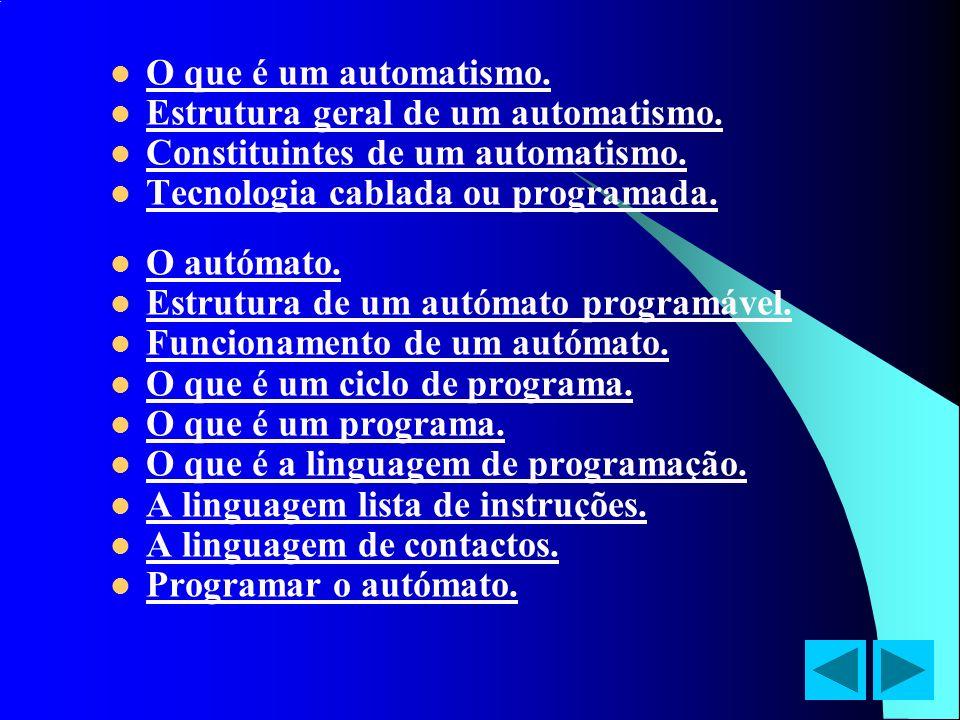 O que é um automatismo.Estrutura geral de um automatismo. Constituintes de um automatismo. Tecnologia cablada ou programada.