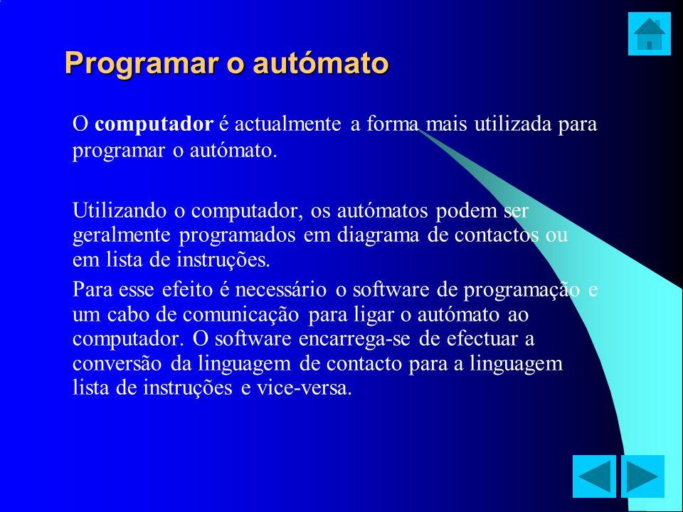Programar o autómato O computador é actualmente a forma mais utilizada para programar o autómato.