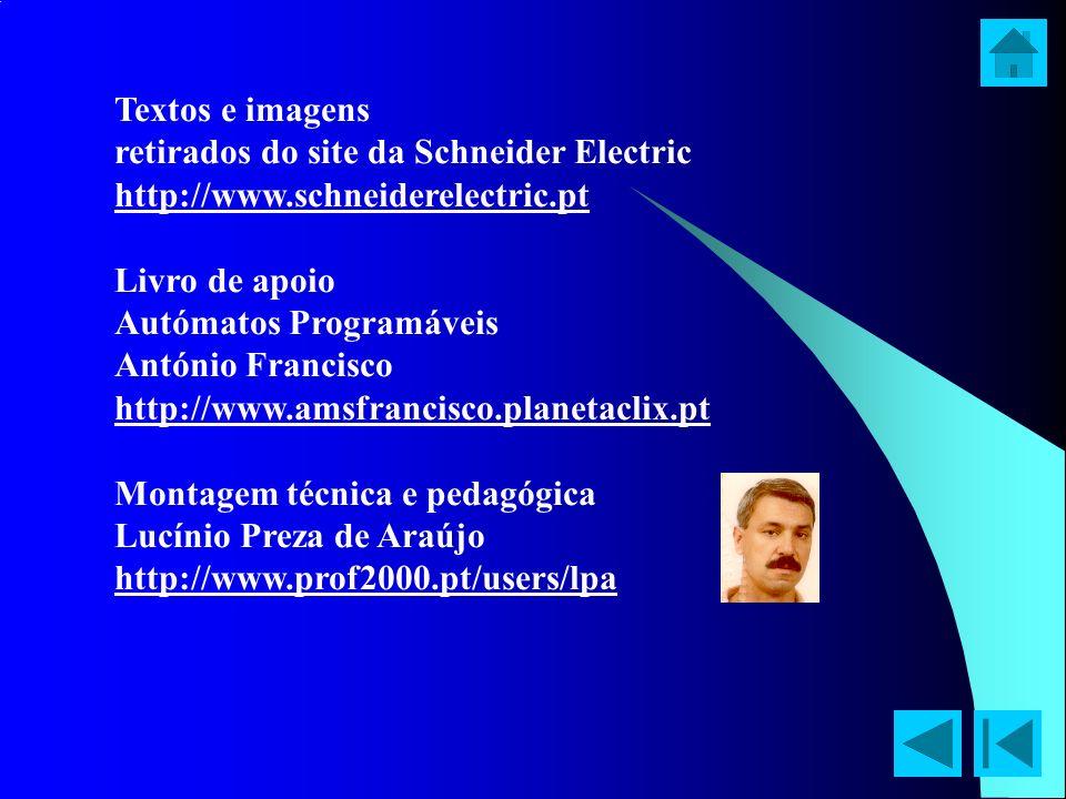 Textos e imagens retirados do site da Schneider Electric. http://www.schneiderelectric.pt. Livro de apoio.