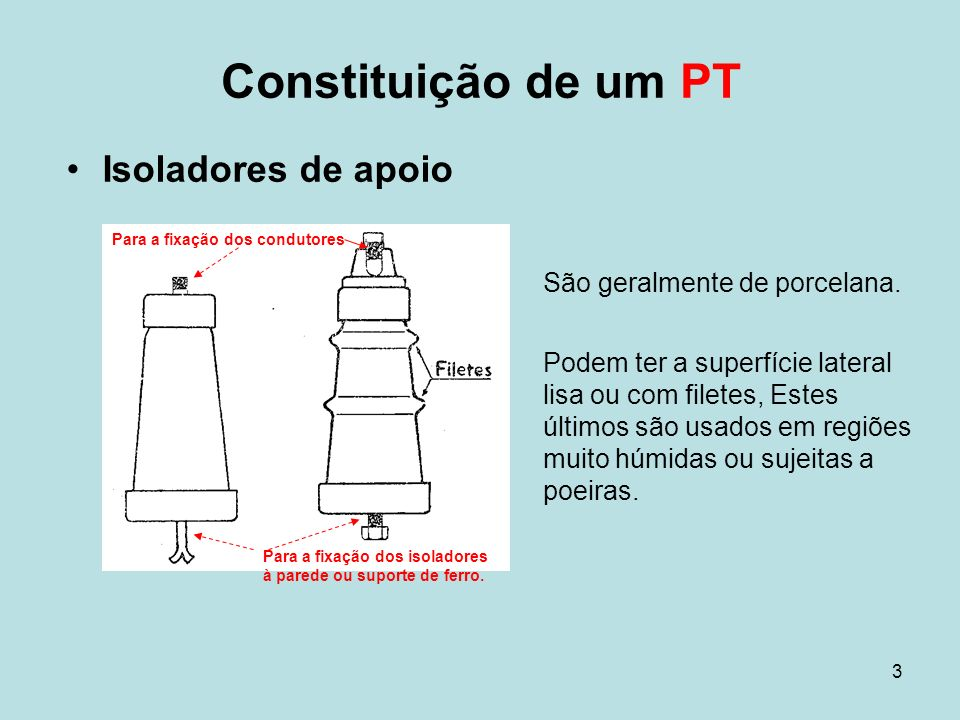 Constituição de um PT Isoladores de apoio São geralmente de porcelana.