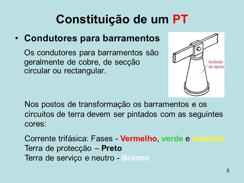 Constituição de um PTCondutores para barramentos. Os condutores para barramentos são geralmente de cobre, de secção circular ou rectangular.