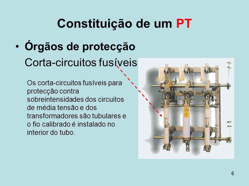 Constituição de um PT Órgãos de protecção Corta-circuitos fusíveis