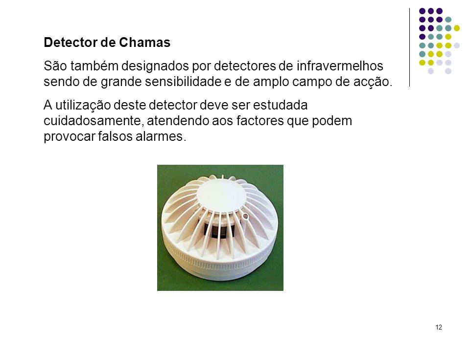 Detector de Chamas São também designados por detectores de infravermelhos sendo de grande sensibilidade e de amplo campo de acção.