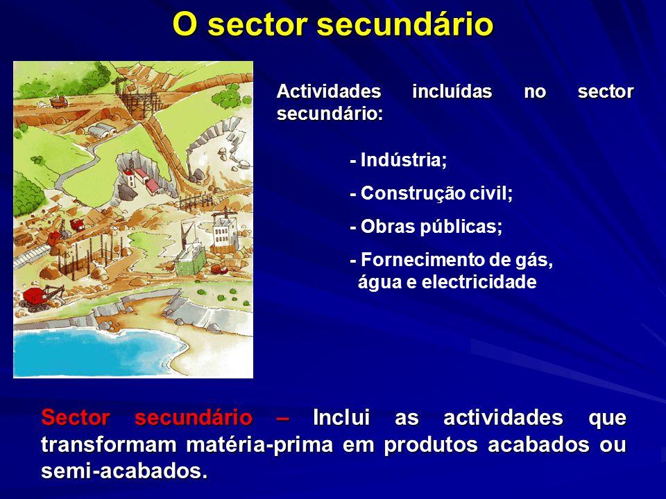 O sector secundárioActividades incluídas no sector secundário: - Indústria; - Construção civil; - Obras públicas;