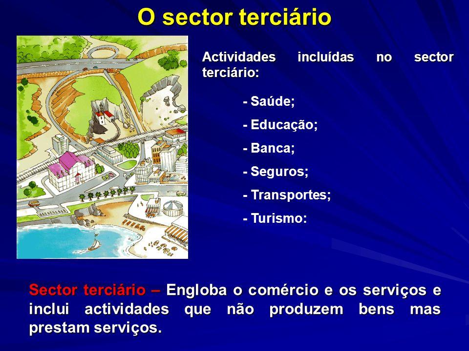 O sector terciárioActividades incluídas no sector terciário: - Saúde; - Educação; - Banca; - Seguros;