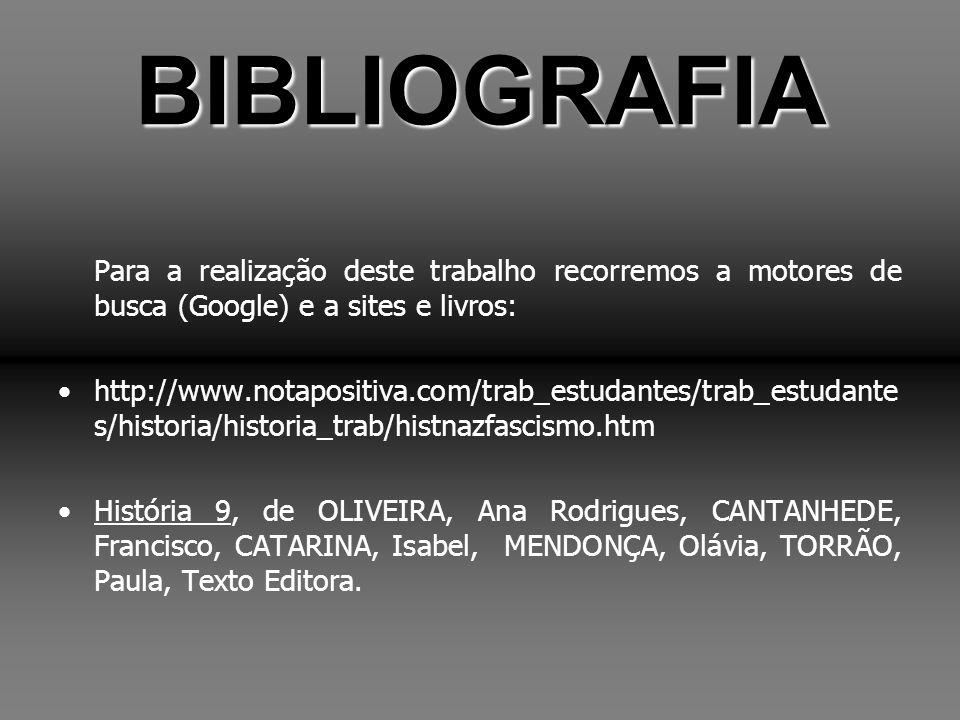 BIBLIOGRAFIA Para a realização deste trabalho recorremos a motores de busca (Google) e a sites e livros: