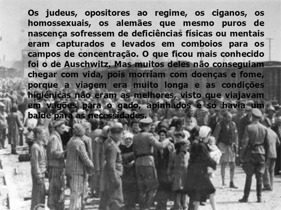 Os judeus, opositores ao regime, os ciganos, os homossexuais, os alemães que mesmo puros de nascença sofressem de deficiências físicas ou mentais eram capturados e levados em comboios para os campos de concentração.