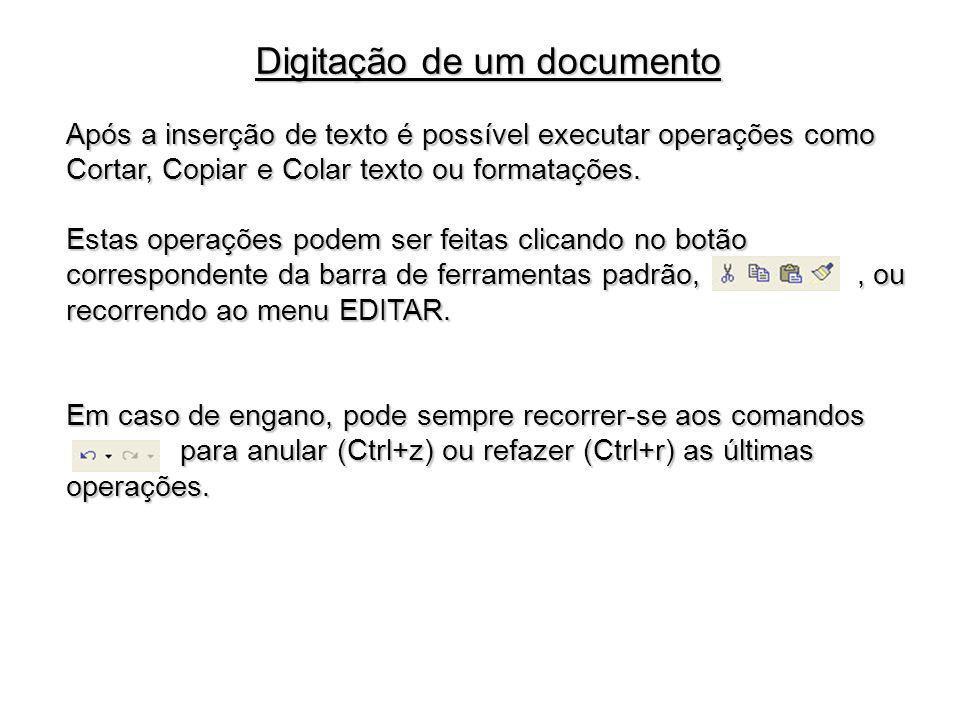 Digitação de um documento