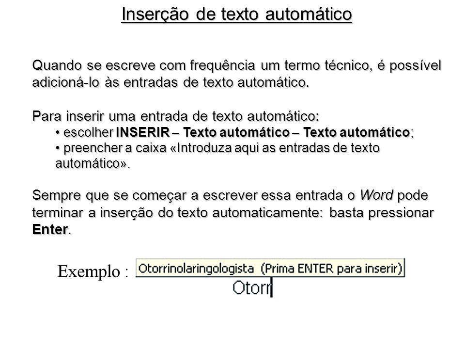 Inserção de texto automático