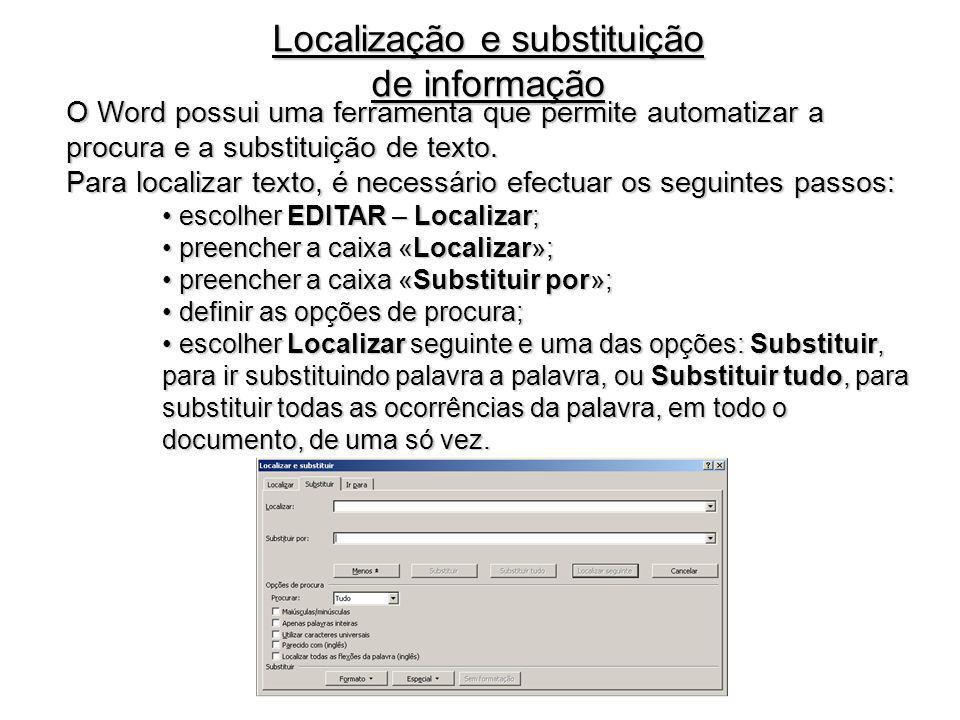Localização e substituição de informação