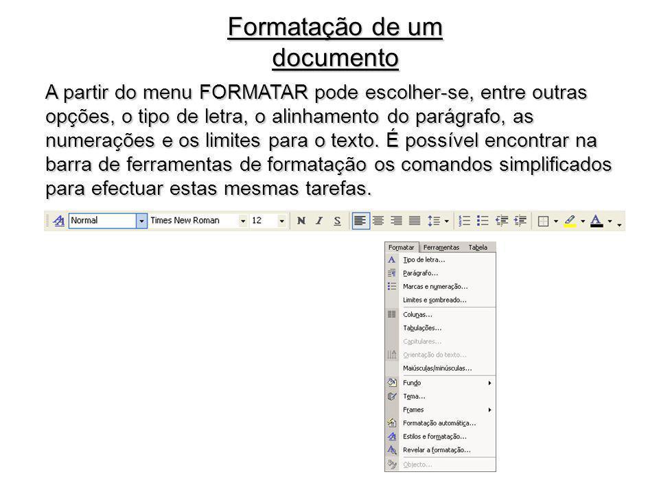 Formatação de um documento