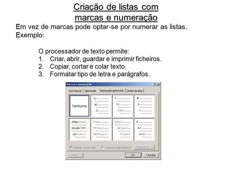 Criação de listas com marcas e numeração