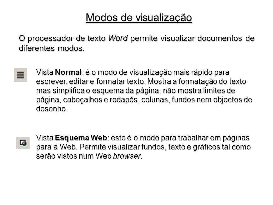Modos de visualização O processador de texto Word permite visualizar documentos de diferentes modos.