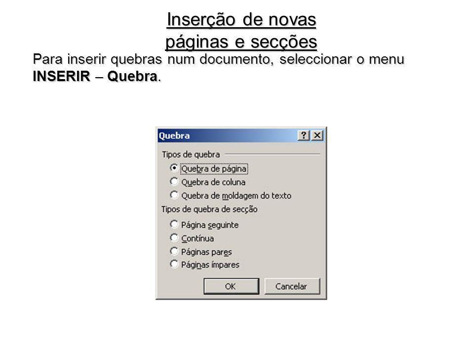 Inserção de novas páginas e secções